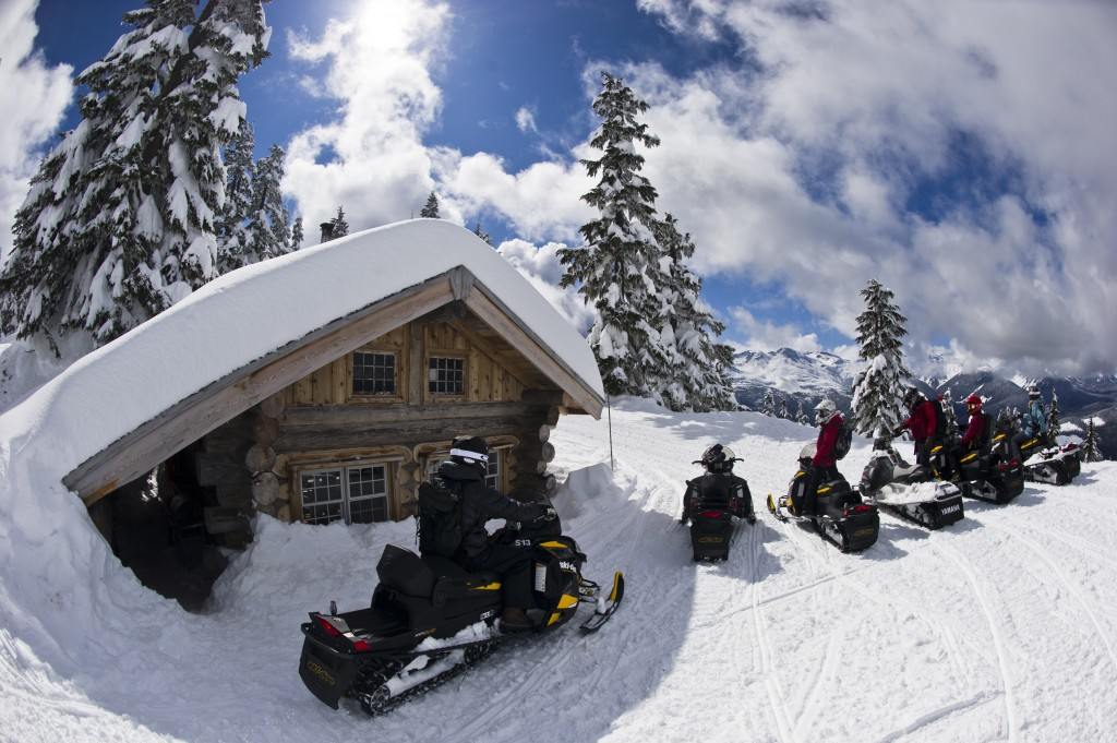 Snowmobile to breakfast at our private backcountry cabin for Cabine in whistler