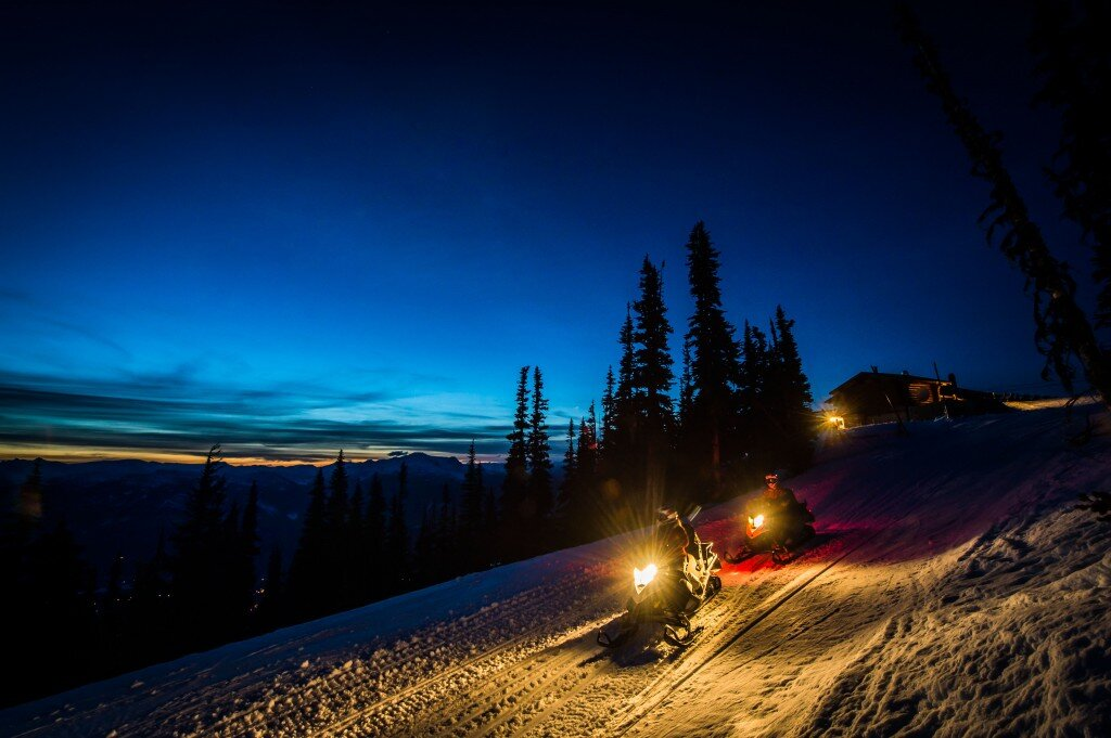 Whistler snowmobile tour at night