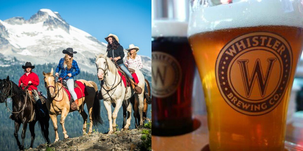 Pony patio party in Whistler with horses and beer