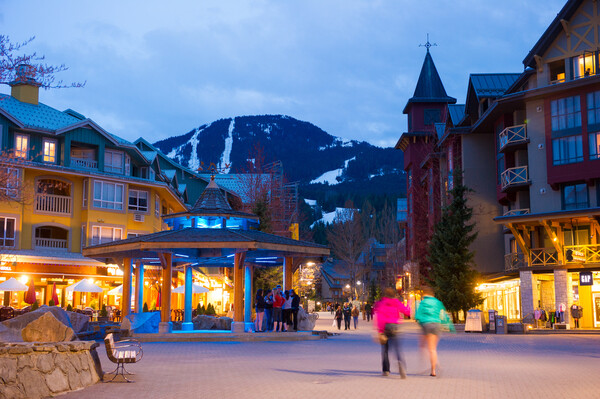 Beautiful spring evening in Whistler village
