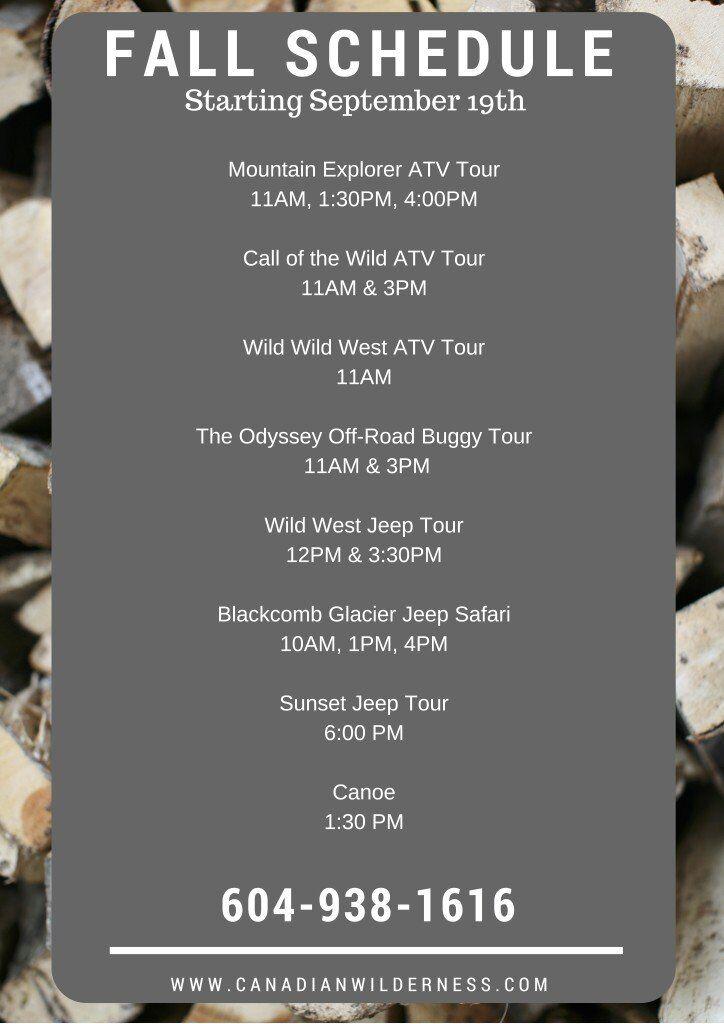 Canadian Wilderness Adventures Fall Schedule in Whistler