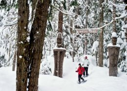 couple snow shoeing in whistler bc
