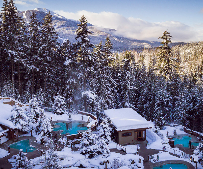 soaking pools of the scandinave spa in whistler bc