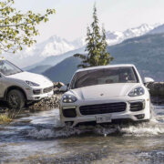 Porsche Cayenne crosses river Whistler