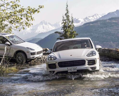 Porsche Cayenne crosses river Whistler